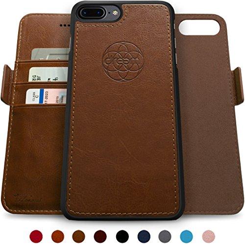 Dreem Fibonacci Brieftasche & Schutz-Hülle für iPhone 7/8-Plus, magnetisches herausnehmbare TPU Case, dünn bruchfest, 2 Standfunktionen, hochwertige synthetische Leder-Tasche, RFID Schutz - Schokolade