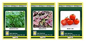 Indo-American Hybrid IAHS03 Spinach Indam Kolkata, Amaranthes Indam-Lal and Tomato 3001 Indam Multicut Seed Combo Pack