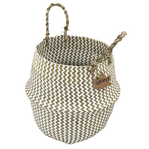Szetosy natürlicher Seegrass-Korb - Goodchanceuk Beuteltasche mit Griff, Style#2, 38CMx36CM (Mit Griff Seegras-korb)