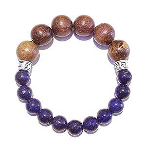 Men's Chunky Gemstone Stretch Bracelet - Lapis Lazuli & Wood - Approx. 21.5cm