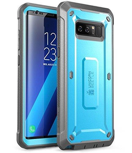 SUPCASE Hülle Kompatibel für Samsung Galaxy Note 8 Handyhülle 360 Grad Bumper Case Stoßfest Schutzhülle Cover [Unicorn Beetle PRO] mit Gürtelclip und eingebautem Displayschutz, Blau