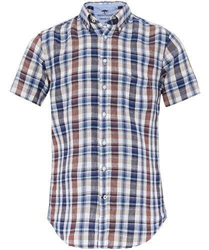 Fynch-Hatton Herren Leinen Kurzarm Check shirt Braun & Blau Braun & Blau
