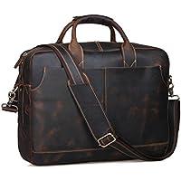 S-ZONE Mens Vintage Vera Pelle 17 pollici Laptop Bag