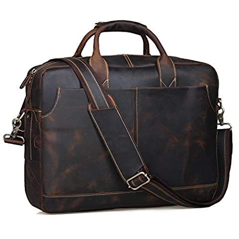 S-ZONE Men's Vintage Genuine Leather 17 inch Laptop Briefcase Bag (Coffee)