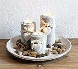 Dekotablett Teelichthalter Holz Herz Kerzentablett modern Edel mit Dekoteller WU