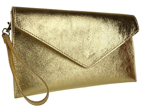 Elegant Fashions , Damen Clutch Metalic Dark Gold