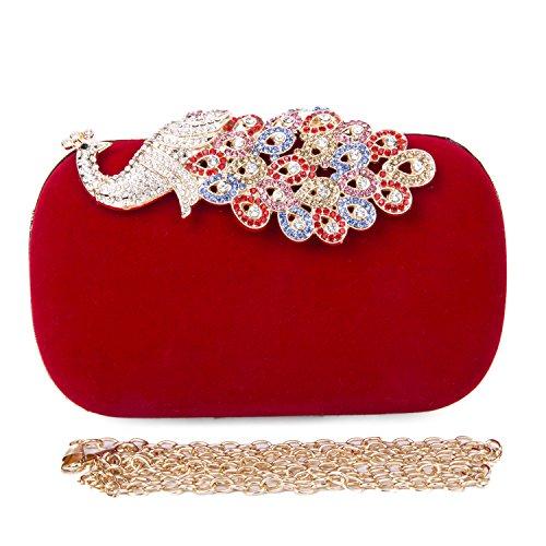 Damen Frauen Clutch Abendtasche Handtasche mit Funkelnder Diamantkristall Pfau Elegante Tasche für Urlaub Party 9.2*16 cm Rot