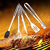 Choice Set of 5 BBQ Grill Tool Set Stainless Steel Grilling Utensils Barbecue
