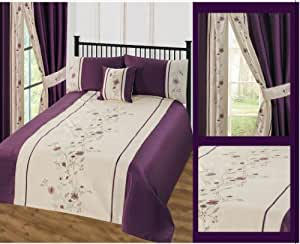 """Purple Sapphire Floral 66"""" x 72"""" Curtains Pencil Pleated Luxury Floral Embroided Embellished"""
