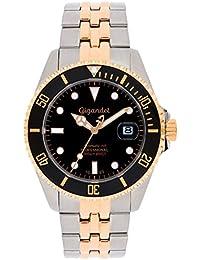 Gigandet Automatik Herren-Armbanduhr Sea Ground Taucheruhr Uhr Datum Analog Edelstahlarmband Schwarz Rotgold G2-020
