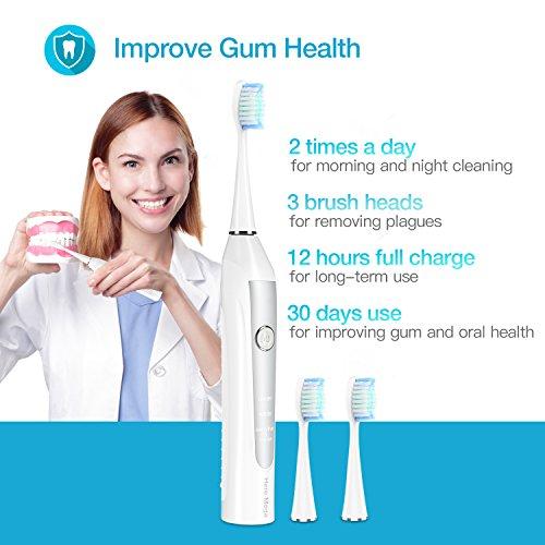 BESTOPE Blanco Cepillo de dientes eléctrico 2 de min Intelligent temporizador  3 cabezales de repuesto  3 modos de limpieza IPX7 A prueba de agua  carga del usb  viaje esencial