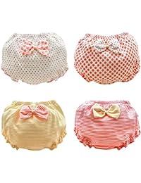 ARAUS Calzoncillos de Algodón para Niñas Bownot Panties Braga Braguita Transpirable Suave Pequeños en Paquete de 4, 0-7 Años