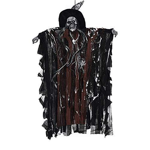 Halloween-Dekoration, animierte hängende Geister-Hexe Skelett Totenkopf Sensenmann mit roter LED Stimme Verrotten Augen Sound Spukhaus, Requisite, coffee, L x W: 63 x 38 cm / 24.8 x 14.96 inch