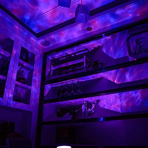 Gosear Ocean Wave LED RGB Projektor Rotierenden Nacht Lampe Projektor mit Musik Player Lautsprecher-Funktion mit Fernbedienung Weiß - 6