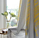 Aifish American Country-Style Romeantic White Yellow Plantain Leaves Curtains For Living Room Grey