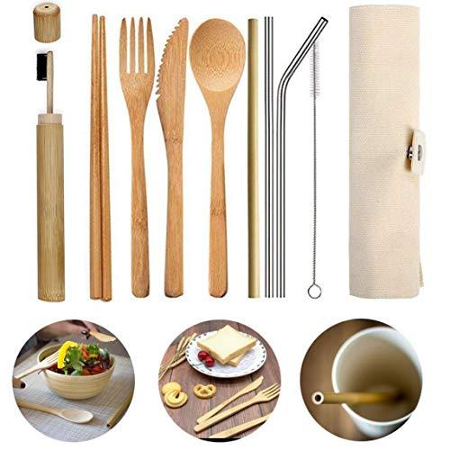 Mit Stoff-Tasche Besteckset Tragbare Wiederverwendbare Messer Utensil Reise Eco Friendly Bamboo Geschirr Stroh Löffel Gabel Chopstick -