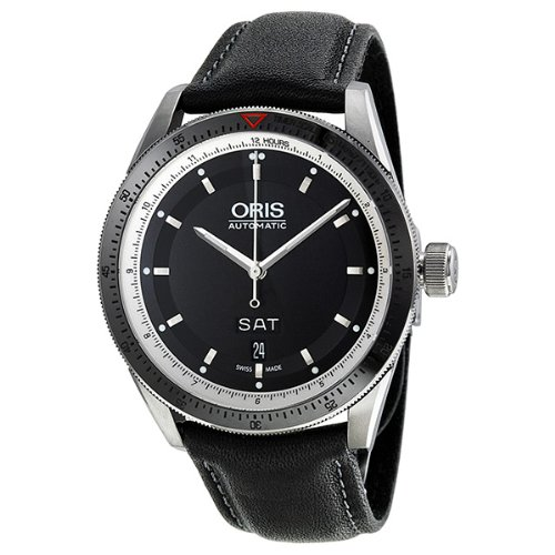 Oris Artix GT Day Date Automatic Mens Stainless Steel Black Dial Strap Watch 735-7662-4154-LS