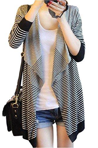 Gaorui irrégulier Pull ample pour femme Motif à rayures Idéal pour les hauts cardigan Sweatshirt châle manteau Noir