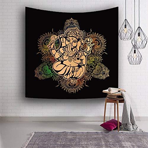 ALXBMZ Tapiz De Elefante Indio Habitación Negra Bohemia Animal Decorativo Tapiz De Hippie Gemelo Tapices De Pared Colchoneta De Yoga
