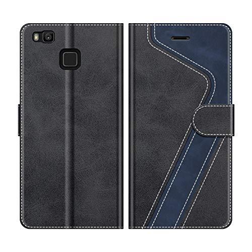 MOBESV Handyhülle für Huawei P9 Lite Hülle Leder, Huawei P9 Lite Klapphülle Handytasche Case für Huawei P9 Lite Handy Hüllen, Modisch Schwarz
