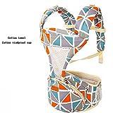 YUMEIGE Babytragen Babytrage Hüfte Sitz, Baumwolle Leinwand babybauchtragen mit Mode Muster Tragetücher 3D Atmungsaktives Mesh 3 Farben (Color : Triangle orange)
