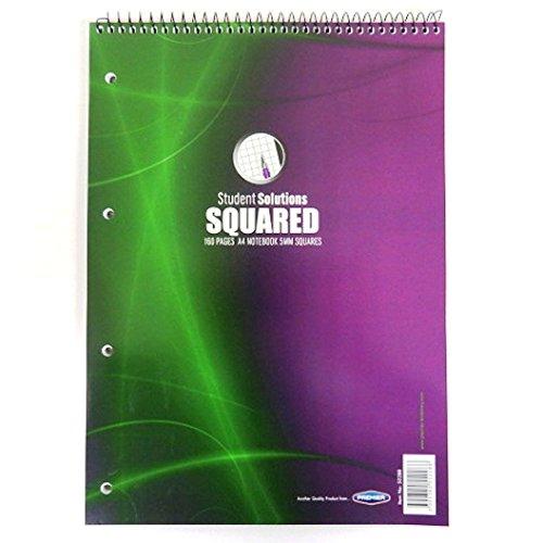 A45mm Graph Top Spiralbindung Notizbuch, 160Seiten, 4Löcher, von Student Lösungen