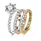 AmDxD Vergoldet Ring Damen Quadrat mit Zirkonia Dreifarbig Verlobungsring Gold Rosegold Silber Größe 54