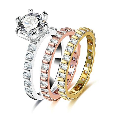 SonMo 2PCS Paar Ringe Set Kupfer Ring Tricolor Solitärring Schmal Partnerringe Zirkonia Frauen Ringe Rotgold Größe: 57 (18.1)