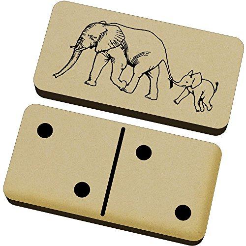 Azeeda 'Elefante y Ternero' Domino Juego y Caja (DM00017548)