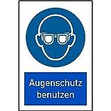 LEMAX® Schild Kombinationsschild Symbol/Text Augenschutz benutzen, 200x300mm Alu