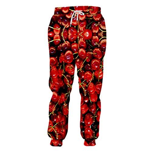 DE-pants-personality Persönlichkeit 3D voll gedruckte Mann rote Kirsche Sweatpants lustige Unisex Hosen Männer leckere Frucht Hose Cherry S (Aeropostale Hoodies Frauen)