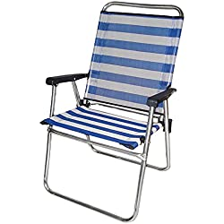 Silla plegable para playa o camping azul de aluminio Garden