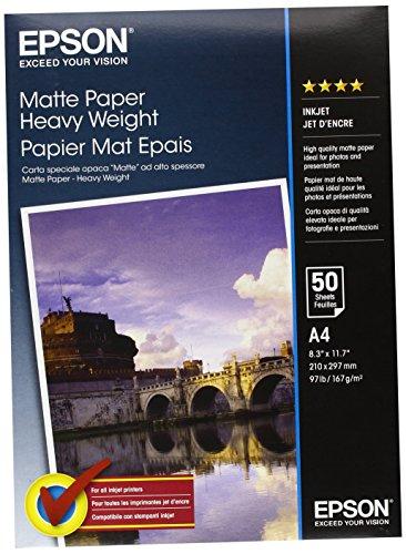fotopapier matt a4 Epson C13S041256 Matte Heavyweight Papier Inkjet 167 g / m2  A4 One-sided, 50 Blatt Pack