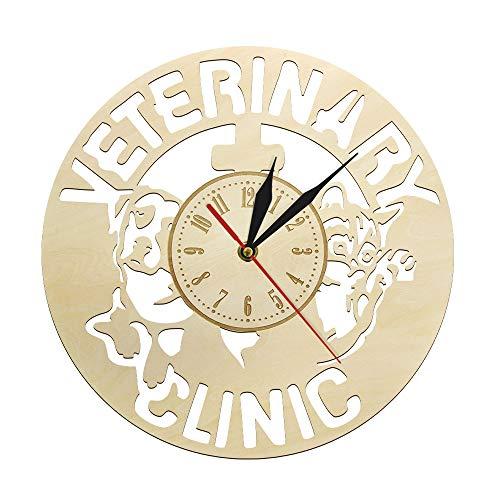 Reloj De Pared Accesorio De La Clínica Veterinaria Veterinario De Madera Enfermera Reloj Veterinario Estudiante Regalo De Graduación Veterinario Tech Caduceo Decoración De Arte Sala De Estar Para