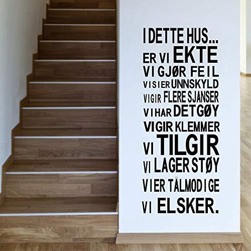100 Norwegischen Öl-qualität (hllhpc Norwegische Version I Dette HUS Vinyl-Wandaufkleber Family House Rules Wandkunst Aufkleber für Wohnzimmer Dekoration 88X35CM)