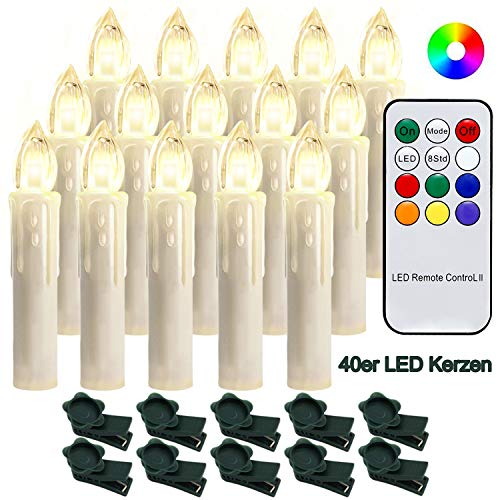 Hengda 40 Stück LED Weihnachtskerzen mit Fernbedienung RGB Kerzen Lichterkette Christbaumkerzen Kabellos LED Kerzenlichter Weihnachts