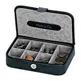 Black and silver leather cufflink box