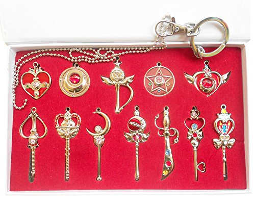 Schlüsselanhänger Heb 12 Produkte Magic Wand Props Goldene Halsketten Anhänger Cosplay Kostüm (Kostüme Figuren Sailor Moon Halloween)