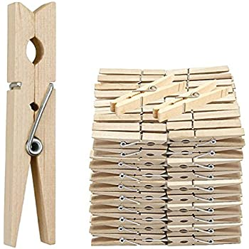 48 Large 7cm WOODEN PEGS Clothes Hanging Washing Line Airer Dryer Quality Spring