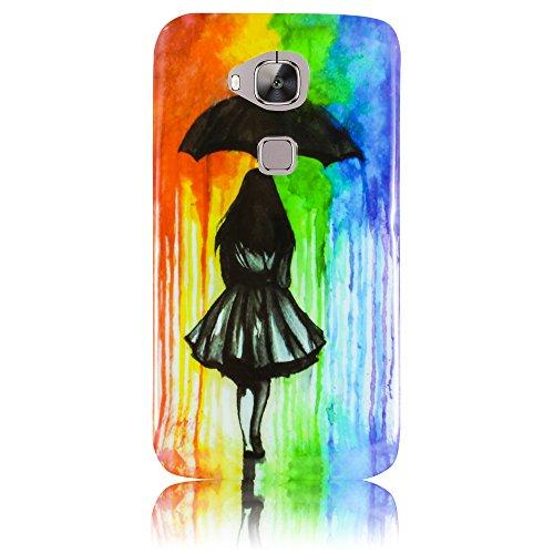 Huawei G8 silicio Woman with umbrella case Cabina Telefonica smartphone bumper Flip bag Cover protection thematys®