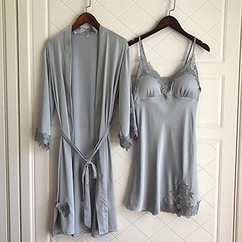 WDDGPZSY Nachthemd/Nachtwäsche/Schlafhemd/Homewear/Pyjamas/Lace Women's Robe Set Sommer Dünnen Abschnitt Mit Abnehmbaren Pad Robe Twinset, Grau, XL -