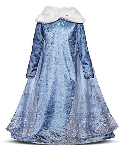 AmzBarley ELSA Kostüm Kinder Mädchen Prinzessin Kleid Eiskönigin Dick Kleider Halloween Cosplay Geburtstag Party Verrücktes Kleid Karneval Ankleiden Winter Kleidung