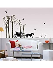 Decals Design 'Horse Cart with Trees and Birds' Wall Sticker (PVC Vinyl, 90 cm x 60 cm)