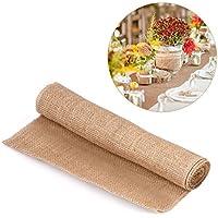 Tela arpillera para tapicería Estilo de la naturaleza de la vendimia del arpillera de la tela de lino de la arpillera corredor de la tabla para la decoración de la boda de la Navidad de la silla de lo(30cm*2m)