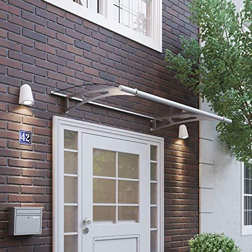 Schulte V1015-10-20 LT-Line Pultbogenvordach, 150 x 95 cm, 4 mm Acrylglas klar, Wandhalter Classic Edelstahl V2A, Vordach mit Alu-Regenrinne