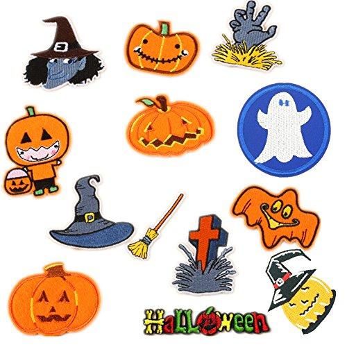 sortiert 13Teile geschnitzt Kürbis Grabstein Ghost Embroidered Iron on Patches Hexen Hat Nähen auf Applikationen Halloween Motiv für Kleidung ()