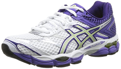 AISCS Gel-Cumulus 16, Chaussures de running Femme Blanc (White/Lightning/Purple 0193)