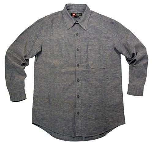 Leichtes Sommer Herrenhemd aus Baumwoll- Leinen, Langarm Shirt Blau