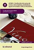 Confección de cartas de vinos, otras bebidas alcohólicas, aguas envasadas, cafés e infusiones. hotr0209 - sumillería