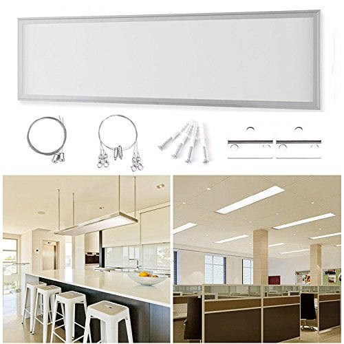 Standard Einbauleuchte Panel (DM Ultraslim 30*120*1.1cm LED Panel Set mit Befestigungsmaterial und LED Treiber/Trafo, 192pcs SMD4014 , Drei Installationsmethoden, 40W warmweiß (2800-3200K) Deckenleuchte auch als Hängeleuchte Pendelleuchte aus 6063 Aluminium, PCB und Polymethylmethacrylat (30x120cm 40W))